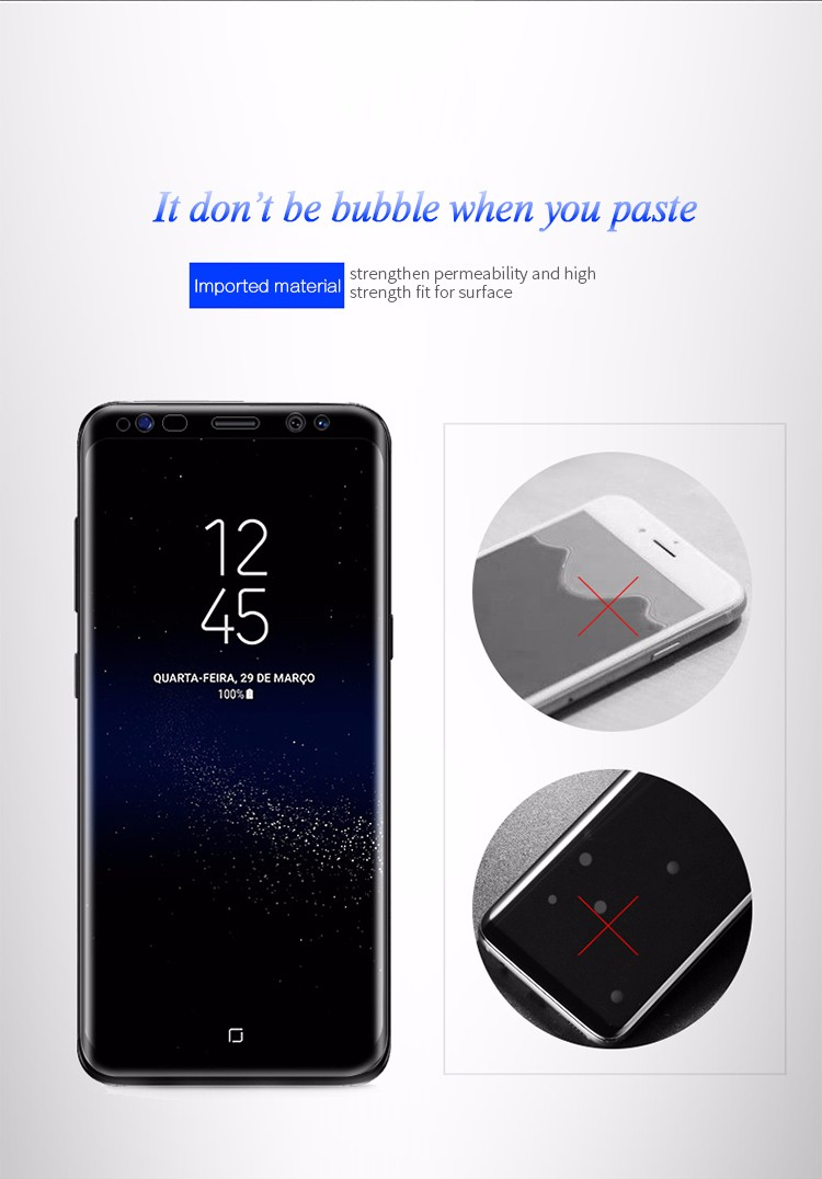 High quality Mobile Phone Used 9h 0.33mm 3D Curved Tempered Glass Screen Protector For Samsung S8 / S8 Plus