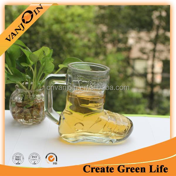 Wholesale Cheap Glass Shoe Shaped Decorative Clear Cup 450ml