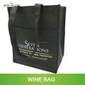 custom silkcreen print PP non woven 6 bottles Wine tote bag with outside pocket