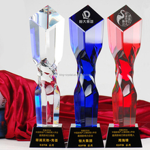 Manufacturer custom black base glass clear and blue crystal trophy plaque awards for school gift