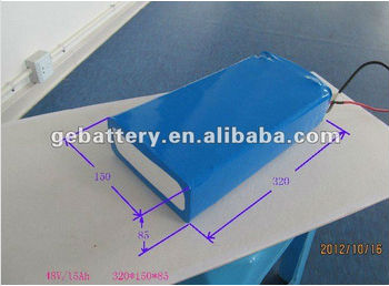 48v 15ah lifepo4 electric vehicle power battery pack with PVC package