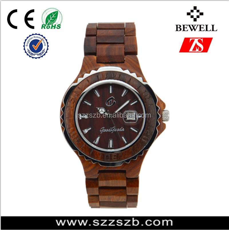 Japan movement water resistant round shaped man watch wood case and wood face watch