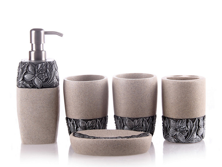 6Pcs Antique Sandstone Resin Bathroom Accessories Set with Desert Flowers
