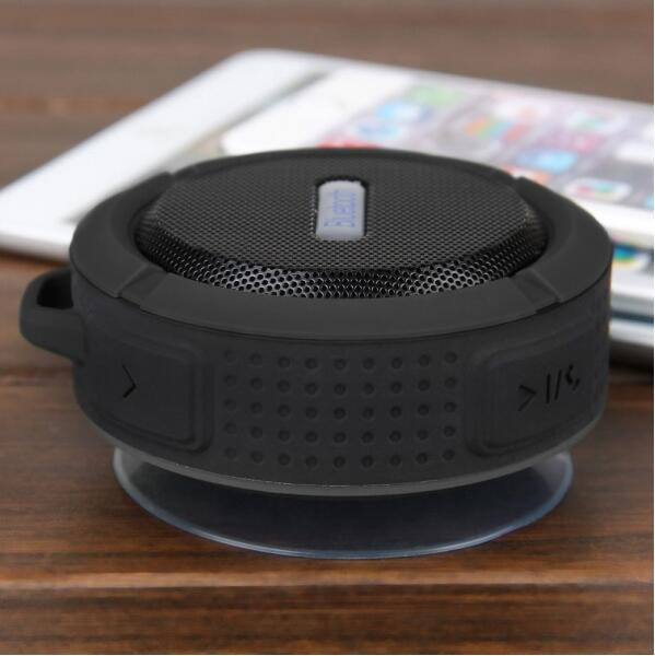 Speaker Portable Waterproof Bluetooth Speaker Outdoor Wireless Stereo Speaker With Microphone Sucker Snap Hook Black