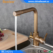 Beelee BL3321A Antique Brass Three Way Drinking Water Outdoor Kitchen Tap Mixer with Water Purifier Systems