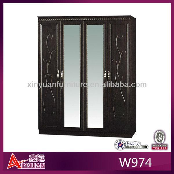 Furniture Design Almirah w974-48 simple 4 door mirrored wood almirah designs in bedroom