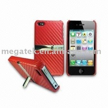 Mobile accessories phone case carbon fiber stand leather back cover for iphone 4
