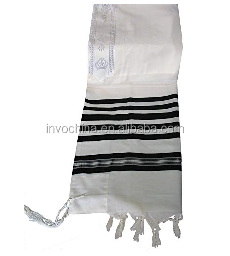 2017 Tranditional 100% wool prayer shawl tallit with black stripes