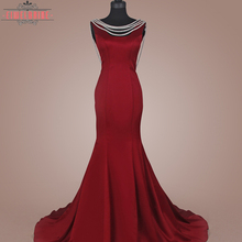 Elegant mermaid Wine red women beaded evening dress