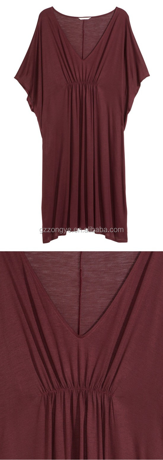Wholesale casual dress plain red color summer women dresses plus size