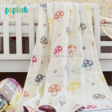 Factory Supply Baby Swaddle Cotton Muslin Mushroom Blankets 6 Layers Comfortable