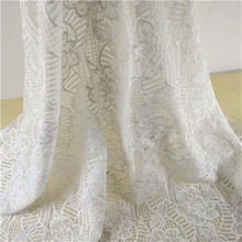 2018 Heavy white voile lace embroidery spanish lace fabric for curtains