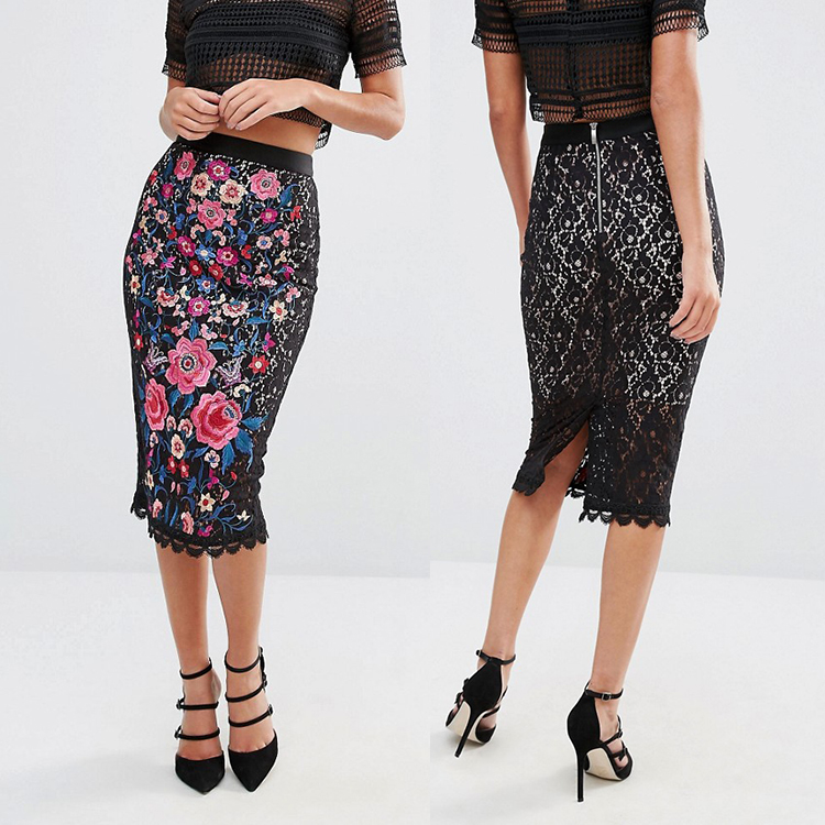 Alibaba factory made scalloped hem embroidered wholesale sexy pencil lace skirt