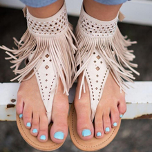 Summer Big Size High Quality Bohemian Tassels Flat Sandals For Women