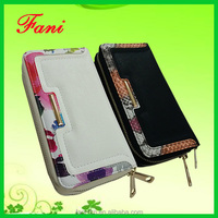 Double zipper design clutch human PU leather with high quality for woman
