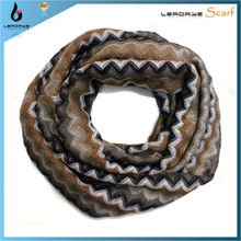 fashion infinity cotton scarf with lace