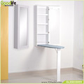 wall mounted ironing board mirror with cotton cover at washing room