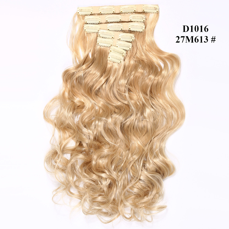 Aisi Hair Mixed Blond Color Fast Shipping Curly Wave Crochet Synthetic 16 Clips in Hair Extensions for White Women