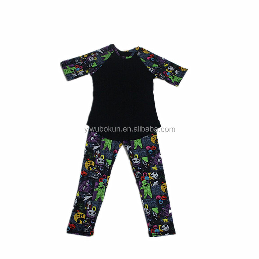 2017 bays Clothing Set short sleeves cotton top with print pants kids hallowmas clothes set
