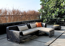 Lightweight grey rattan sectional lounge sofa set patio furniture factory direct wholesale