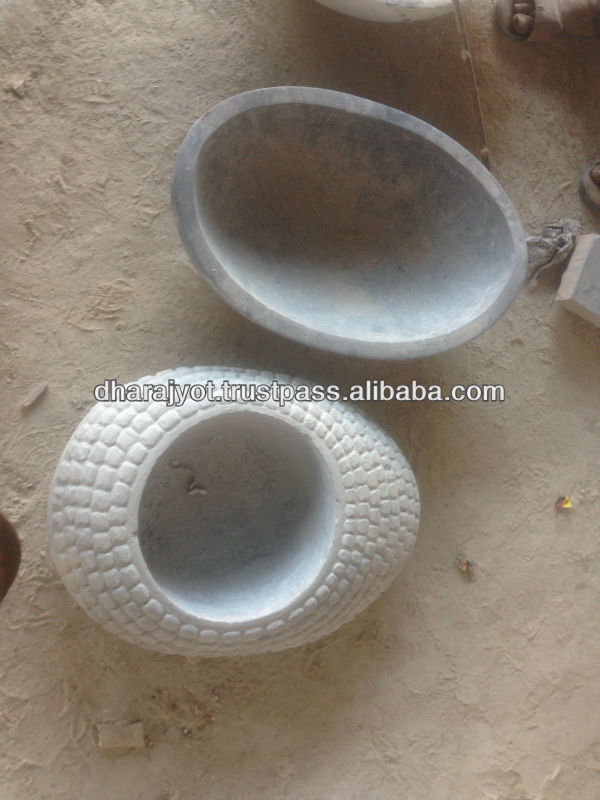 grey and white marble small oval shape bird bath