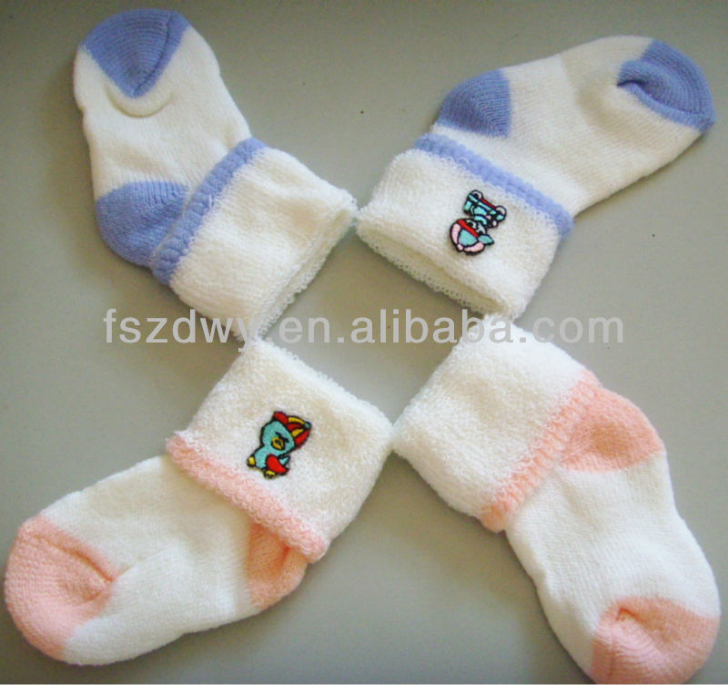 Knitted cotton baby embroidered socks