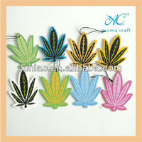 2013 NEW customized leaves shape scented hanging paper car air freshener in different colors and sizes