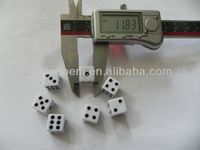 12mm 6 sided customized black dots white square acrylic dice