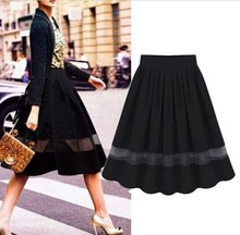 Black Vintage Women Chiffon Elastic Waist Skater Flared Pleated Skirt Maxi Dress S001