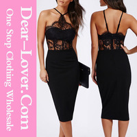 Hot sale new design sexy mature women black halter lace inserted sheer fitted dress