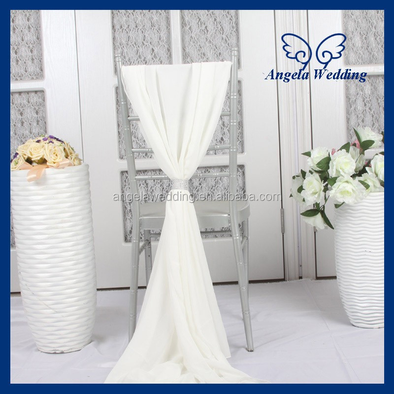SH003F Wholesale cheap elegant fancy wedding ivory chiffon chair sash