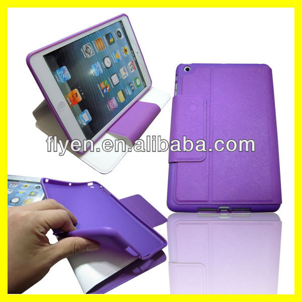 LEATHER WALLET CASE FOR iPAD MINI WITH INNER SILICONE HOLDER Smart Case Cover Purple