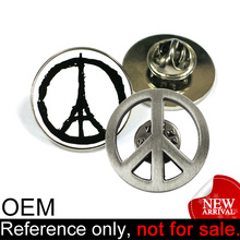 promotion fashion metal custom cheap souvenir eiffel tower peace sign pin
