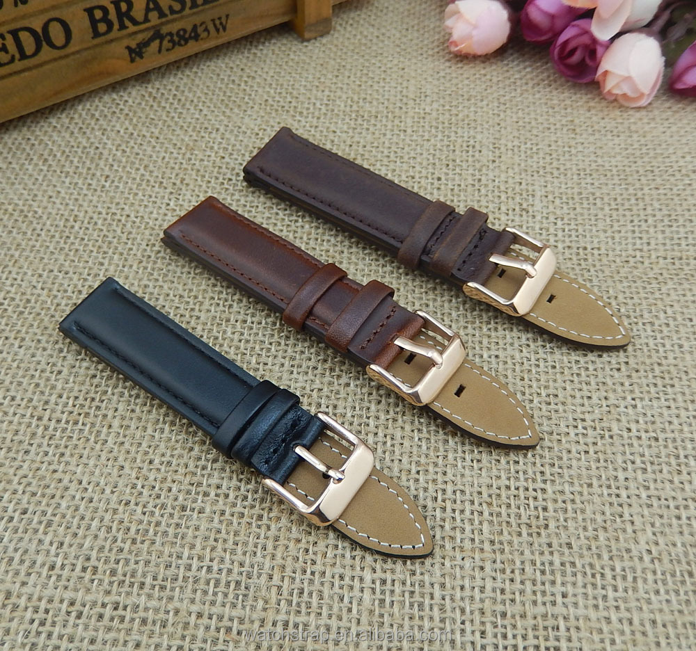 Handmade Band Factory Wholesale 20mm Black Brown Vintage Distressed Genuine Italian Leather Watch Strap