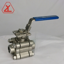 3-PC 2000 psi 2 inch butt weld stainless steel iso 5211 certificate ball valve with locking handle