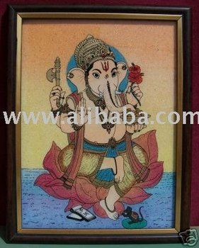Ganesha on Lotus Flower, Art Craft Handicraft Painting