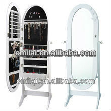 Classic mirror oval-shaped jewelry cabinet with LED light