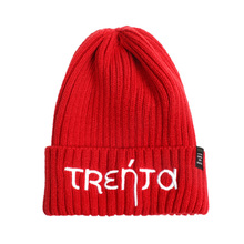 Custom Red Knitted Hat Beanie With Logo Flat Embroidery