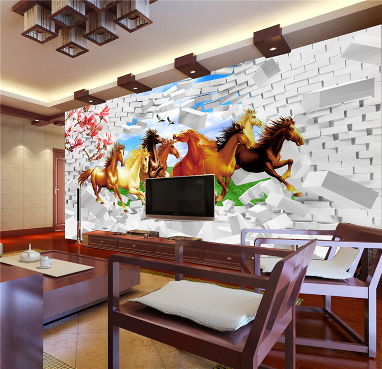 running horses decorative photo wall art picture 3d wall papers