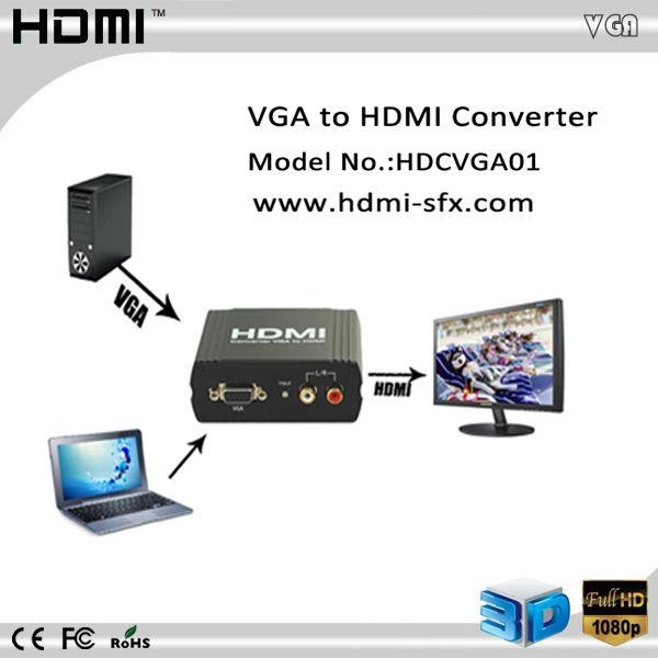 component vga video converter to hdmi 1080p upscaler 720p