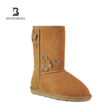 Hot sale latest design kids Warm fur suede shoes leather boots
