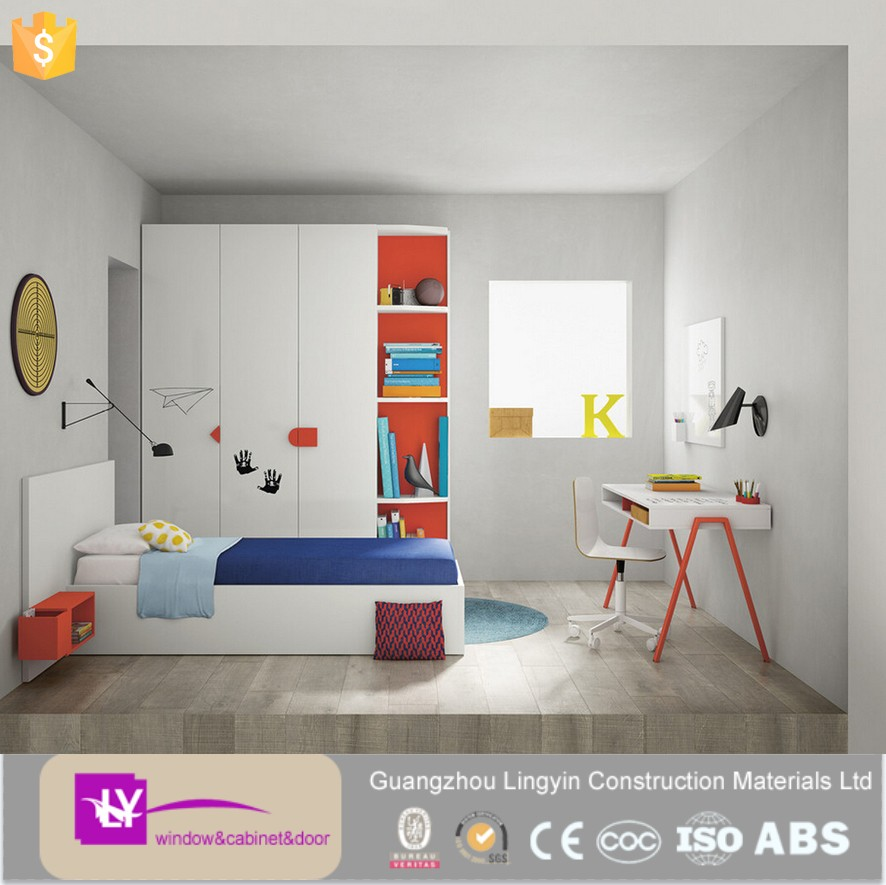home furniture white color high gloss lacquer design wardrobe for Children's bedroom