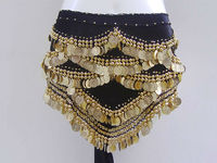 SWEGAL 2013 SGBDP13046 1color blck coin fashion sexy belly dance modern hip scarf