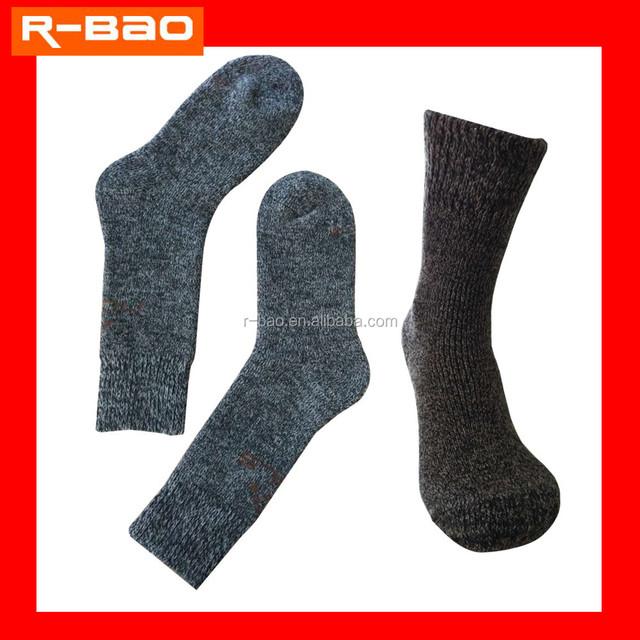 High quantity outdoor terry thermal hiking men's merino wool socks