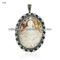 Cameo Gemstone Themed Pendants, Sapphire & Pearl Gemstone Designer Pendants, 18k Gold Diamond Cameo Themed Pendants Jewelry