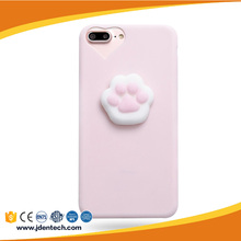 Cartoon toy silicon paw pink color 6plus Squishy Phone Case