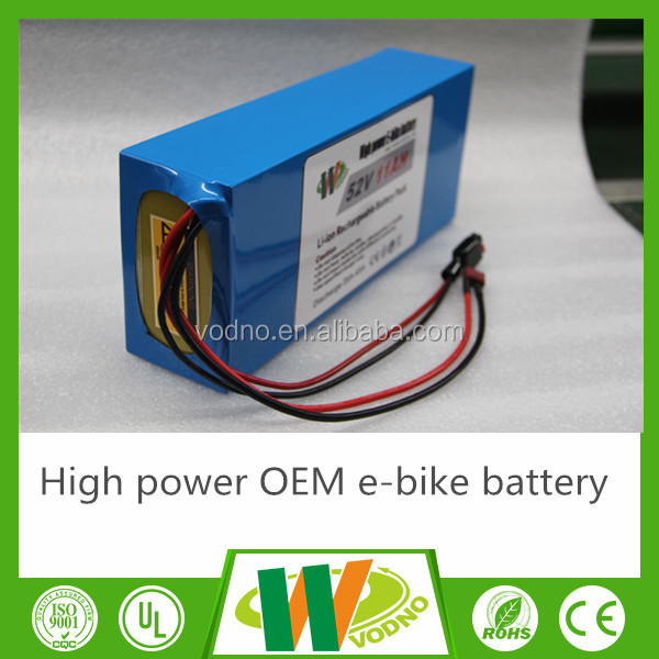 Customzied Li-NMC 52V Li-ion electric bike battery with certification