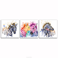 Water Color Painting of Zebra HD Animal Picture Canvas Prints for Bedroom Wall Decor Vogue Inner Decor 3 Pieces Wholesale