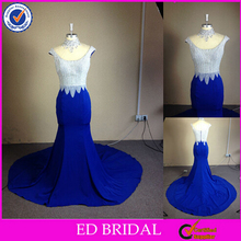 Factory Custom Made Real Pictures Beaded High Neck Mermaid Long Evening Dress