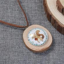 Natural Wood & Glass Velvet Necklace Coffee Oval Squirrel